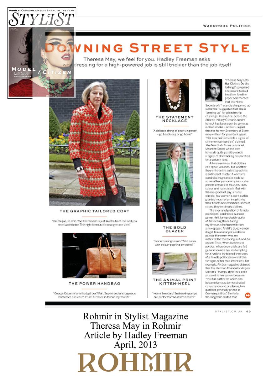 Rohmir in Stylist Magazine Theresa May in Rohmir April 2013