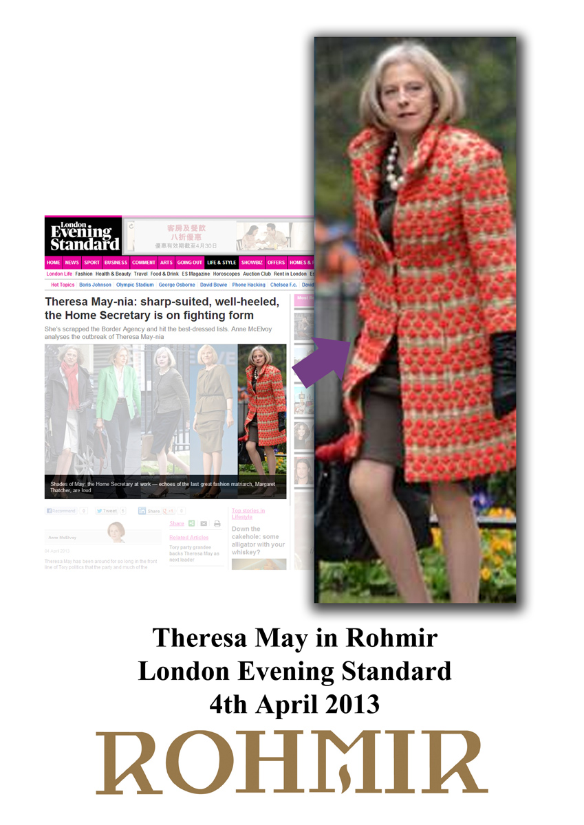 Theresa May in Rohmir London Evening Standard  4th April 2013 Kopie