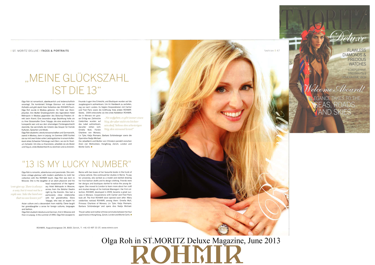 Olga Roh in ST MORITZ Deluxe Magazine June 2013 -2