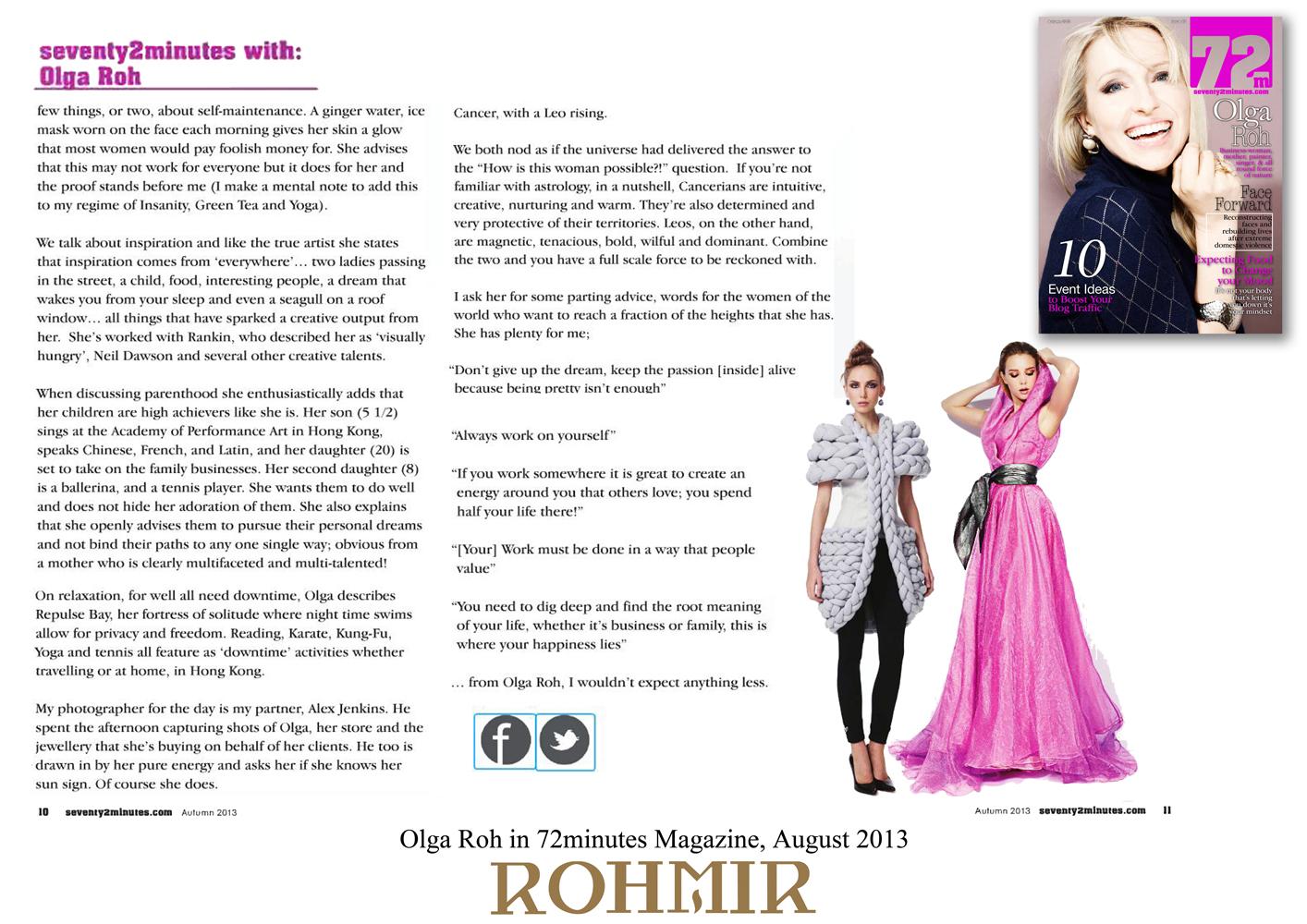 Olga Roh in 72minutes Magazine, August 2013 -2