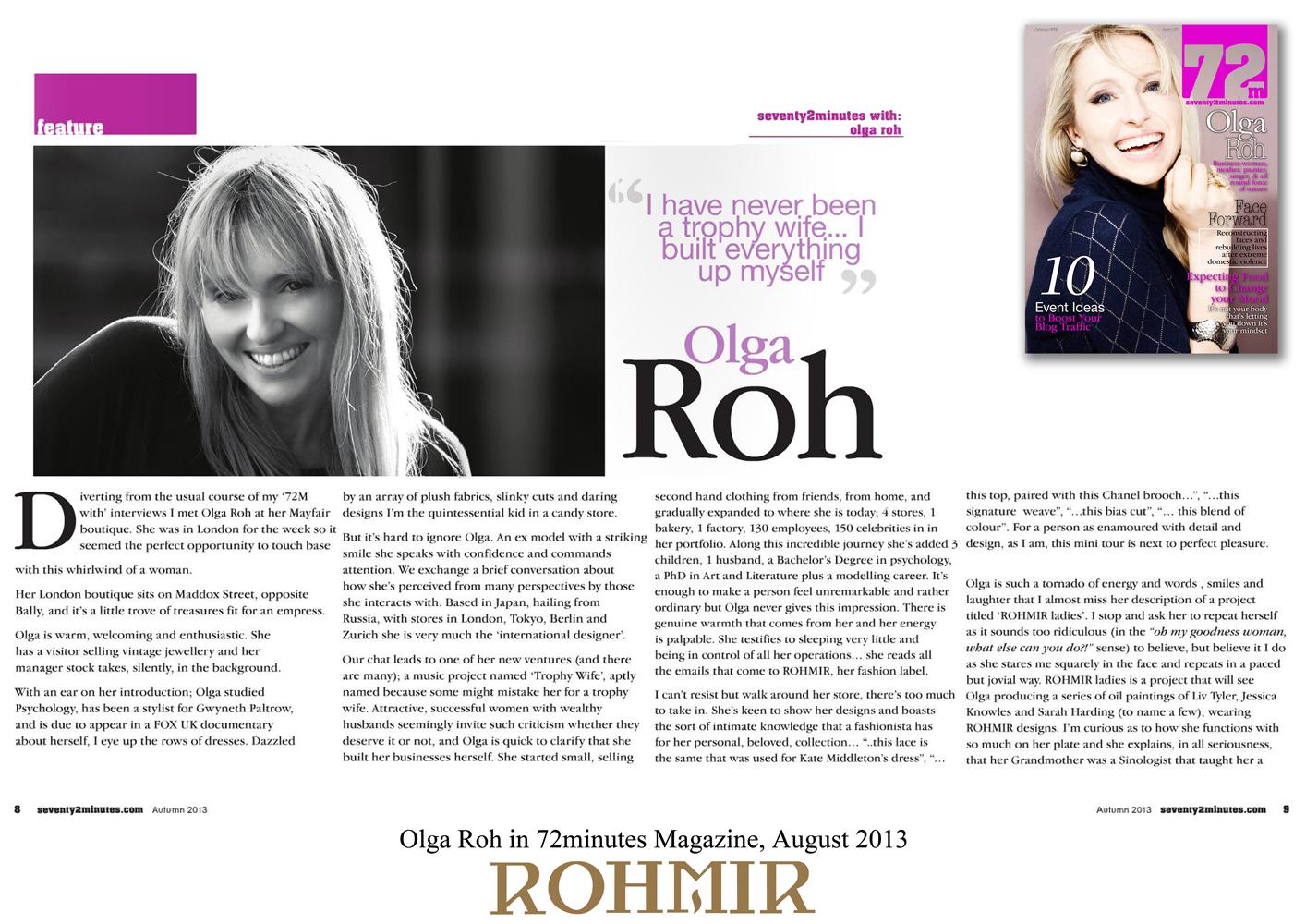 Olga Roh in 72minutes Magazine, August 2013