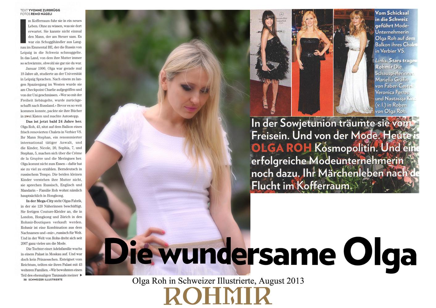 Olga Roh in Schweizer Illustrierte, August 2013