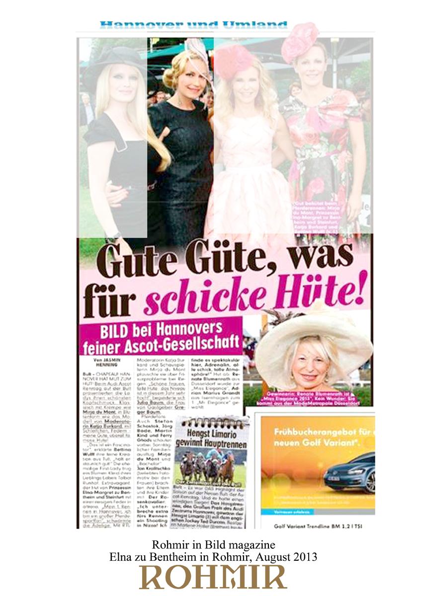 Rohmir in Bild magazine, Elna zu Bentheim in Rohmir August 2013