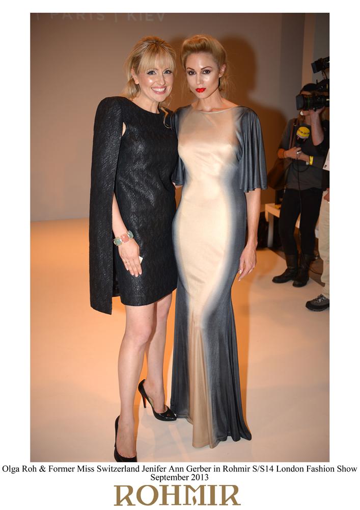 Olga Roh & Former Miss Switzerland Jenifer Ann Gerber in Rohmir SS14 London Fashion Show, sept 2013