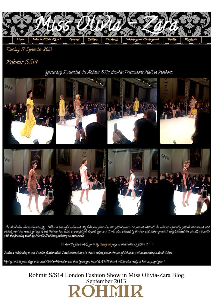 Rohmir SS14 London Fashion Show in Miss Olivia-Zara Blog sept 2013