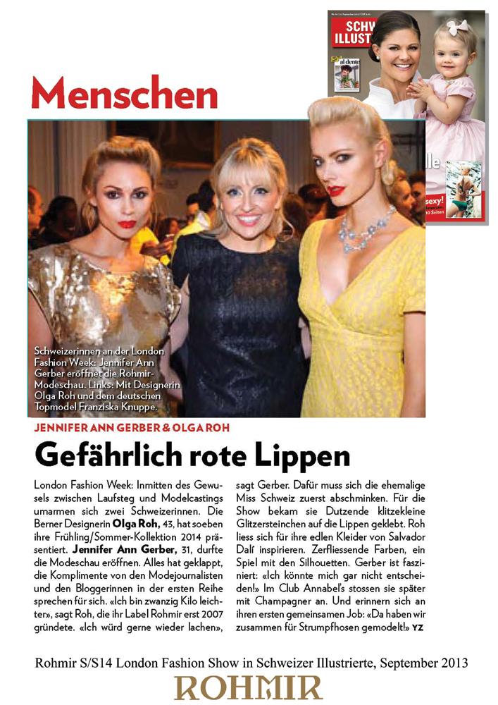 Rohmir SS14 London Fashion Show in Schweizer Illustrierte, September 2013