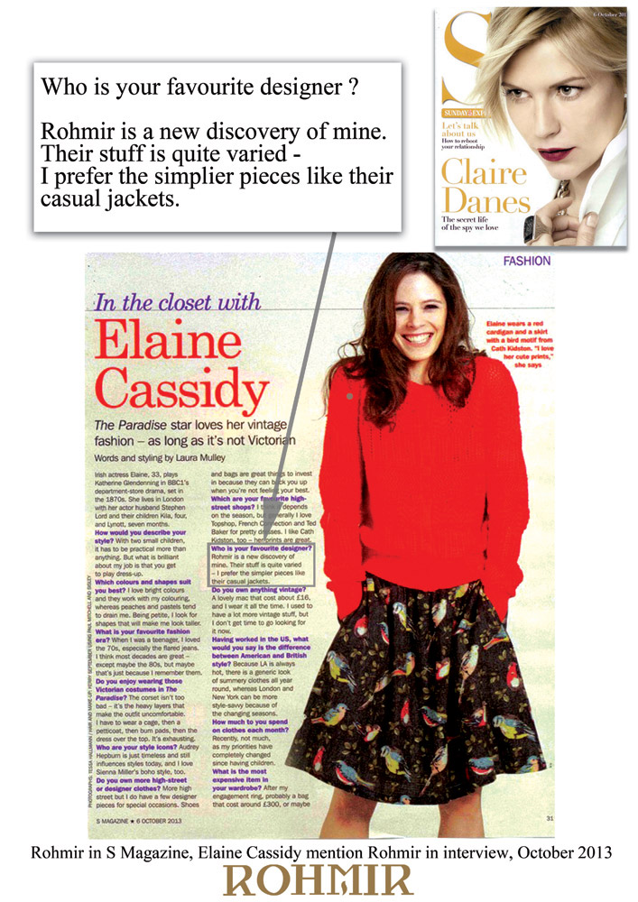 Rohmir-in-S-Magazine,-Elaine-Cassidy-mention-Rohmir-in-interview,-October-2013