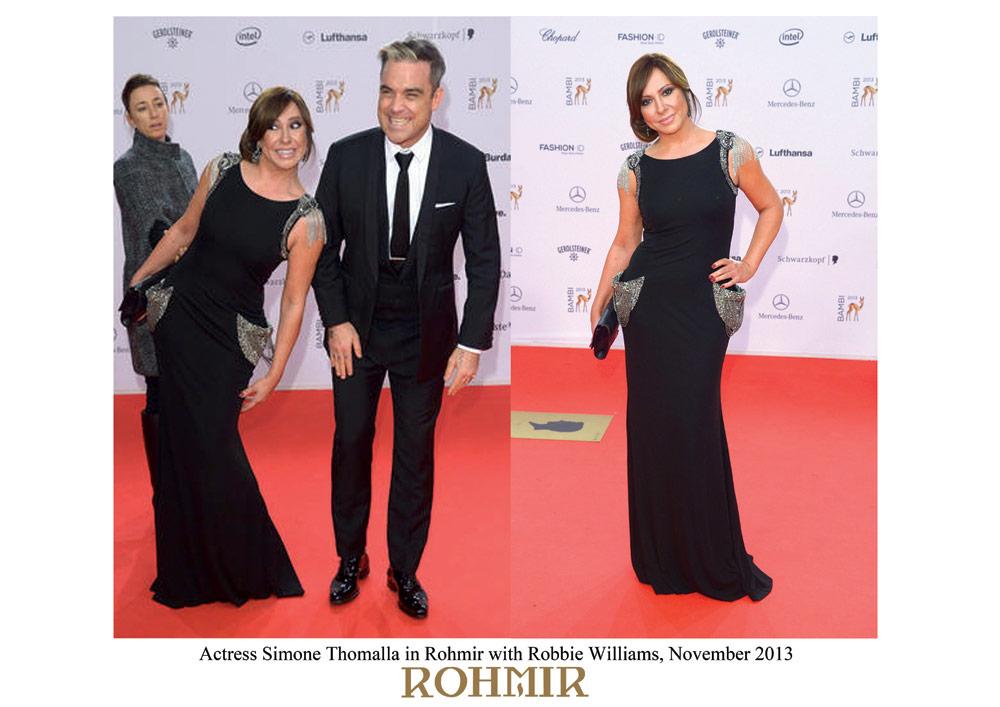 Actress-Simone-Thomalla-in-Rohmir-with-Robbie-Williams,-November-2013