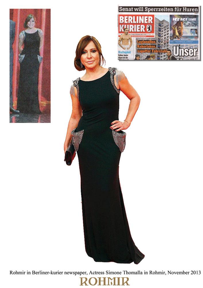 Rohmir-in-Berliner-kurier-newspaper,-Actress-Simone-Thomalla-in-Rohmir,-November-2013