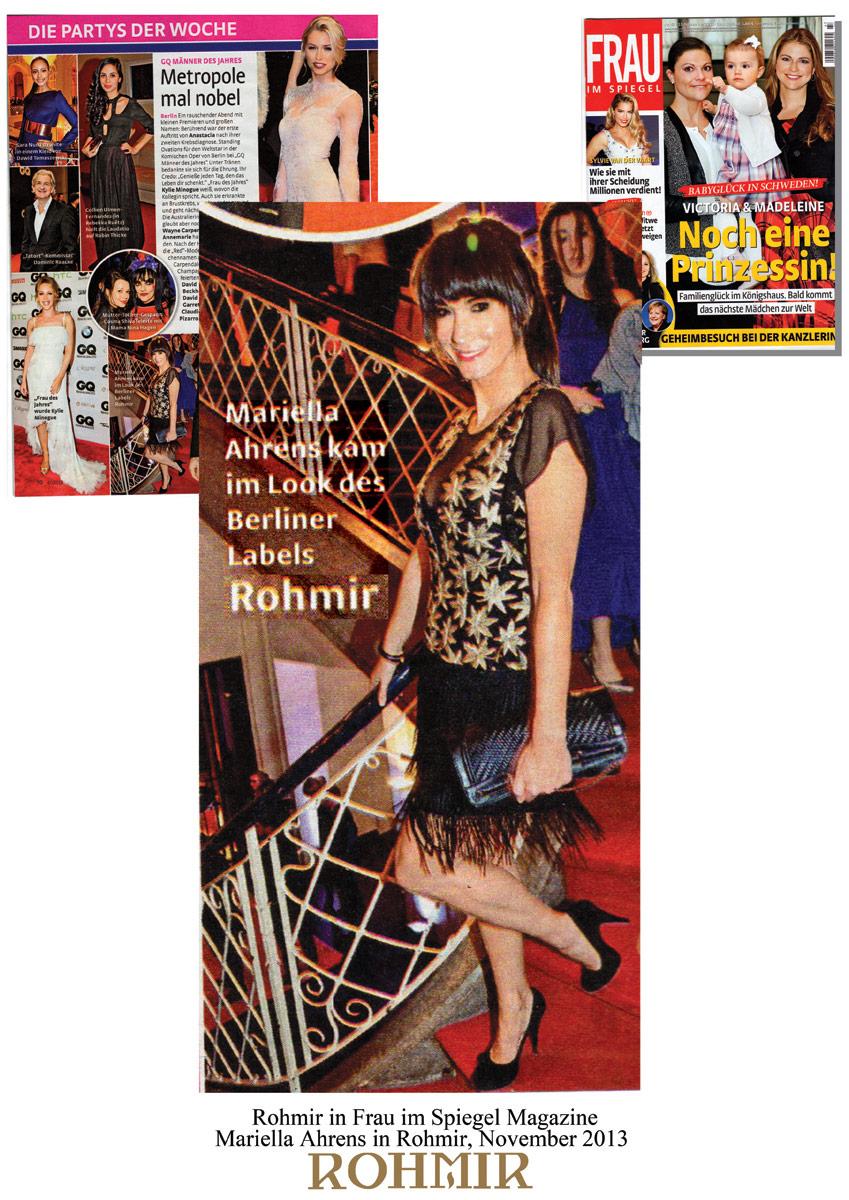 Rohmir-in-Frau-im-Spiegel-Magazine,-Mariella-Ahrens-in-Rohmir,-Nov-2013