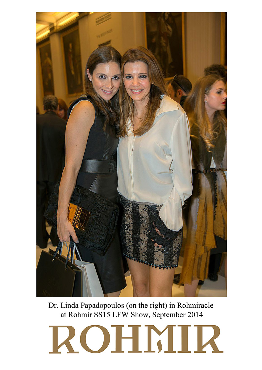 Dr.-Linda-Papadopoulos(on-the-right)-in-Rohmiracle-at-ROHMIR-SS15-LFW-Show-