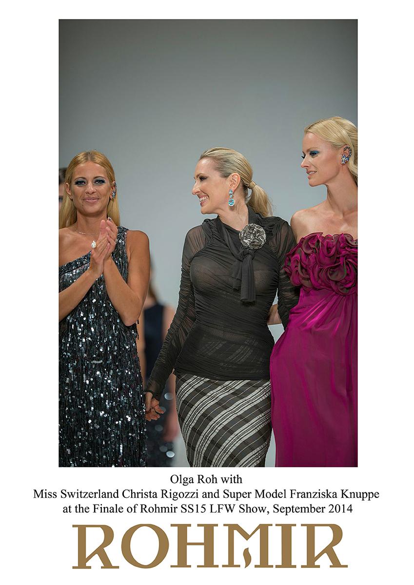 Olga Roh with Miss Switzerland Christa Rigozzi and ROHMIR SS15 LFW Show finale